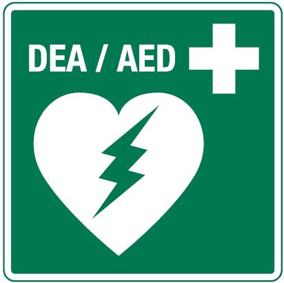 signage for AEDs on campus