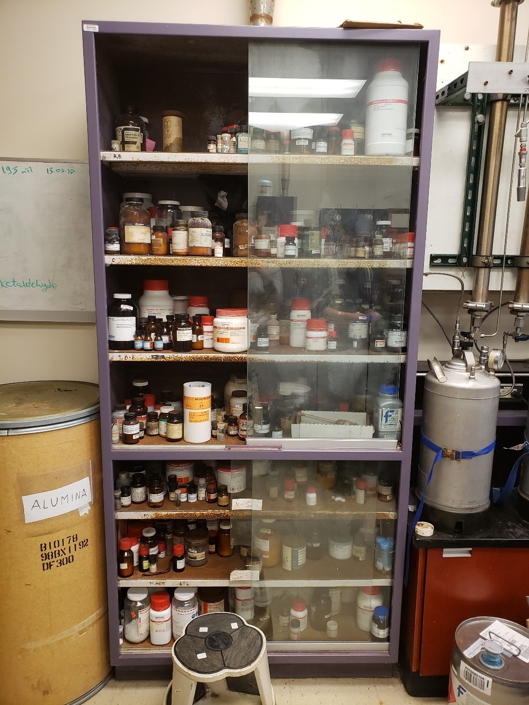 cabinet with chemicals