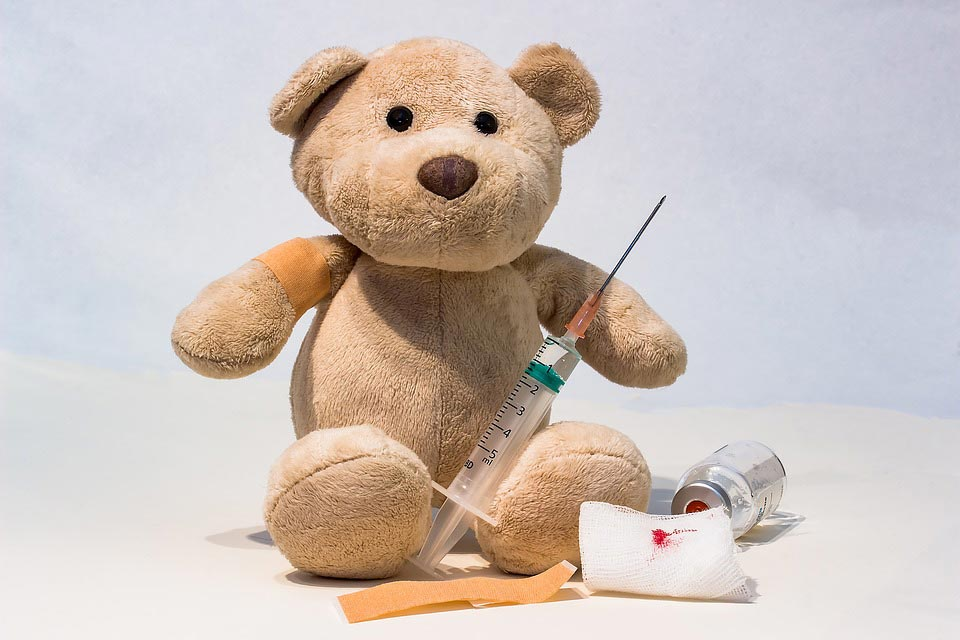 Teddy bear with an injection